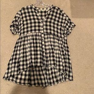 Black and white checkered button down blouse
